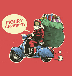 Hand drawing style of santa claus ride a scooter vector