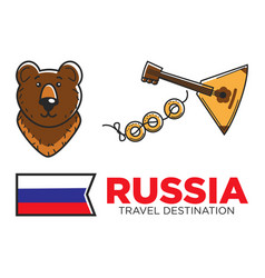 Russia travel symbols for russian tourist and vector