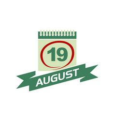 19 august calendar with ribbon vector