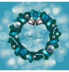 New years background - a wreath of fir branches vector