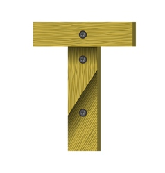 Wood letter t vector