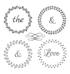 Collection of floral frames cute hand drawn vector