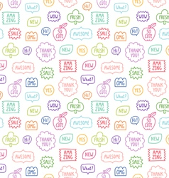 Colorful outline phrases repeat pattern on white vector
