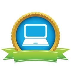 Laptop round icon vector
