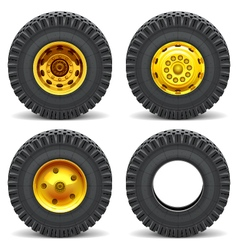 Construction machines wheels vector