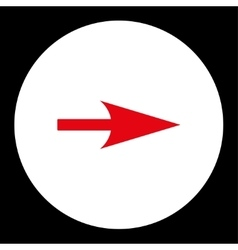 Arrow axis x flat red and white colors round vector