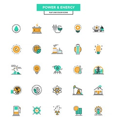 Flat line color icons power and energy vector