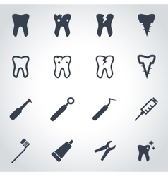 Black dental icon set vector