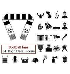Set of 24 football fans icons vector