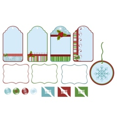 Collection of christmas tags vector image