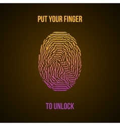 Colorful fingerprint yellow pink on dark vector