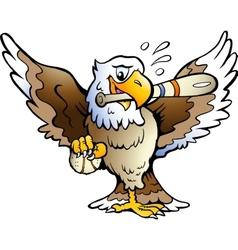 Hand-drawn of an eagle playing baseball vector