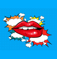 Biting her red lips pop art colorful background vector