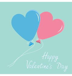 Blue and pink balloons hearts alentines day vector