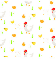 cartoon rooster country seamless pattern vector image