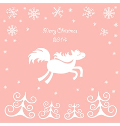 Christmas card with a running horse vector