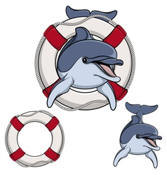 Colored of a dolphin and a life buoy vector image vector image
