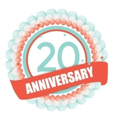 Cute Template 20 Years Anniversary with Balloons vector image vector image
