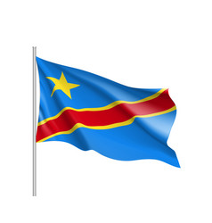democratic republic of the congo realistic flag vector image