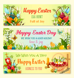 Easter day and egg hunt celebration banner set vector