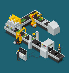 electronics factory equipment staff isometric vector image