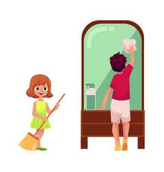 flat cartoon children cleaning set vector image