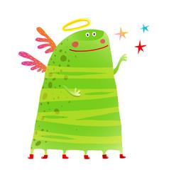 Green kids creature monster many legs wings stars vector
