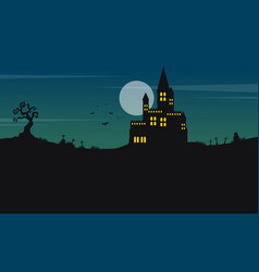 Halloween landscape castle and moon vector