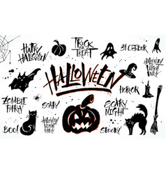 halloween lettering and clip art set vector image vector image
