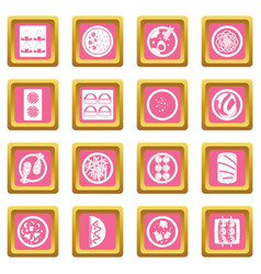 japan food icons pink vector image