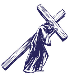 Jesus christ son of god carries the cross before vector