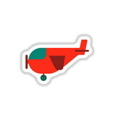 Paper sticker on white background plane with vector