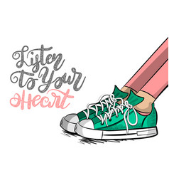 pop art cartoon woman sneaker listen heart vector image