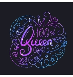 Queen Text Poster vector image vector image