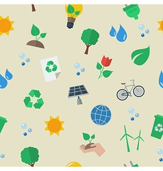 Seamless eco flat icon pattern vector image vector image