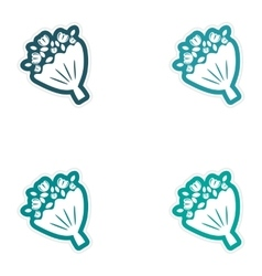 Set of paper stickers on white background bridal vector