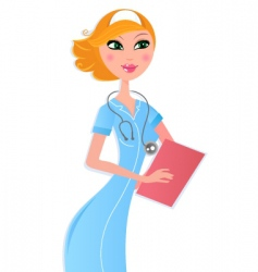 sexy nurse with document vector image