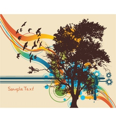 tree with colorful background vector image vector image