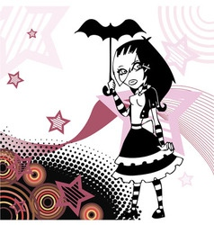 Uncolored cartoon emo goth girl with umbrella vector image