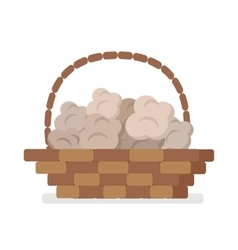 Wicker basket with truffles flat icon vector