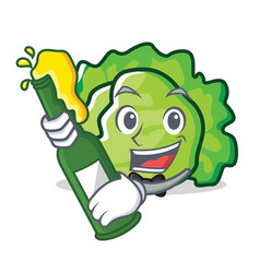 With beer lettuce character mascot style vector