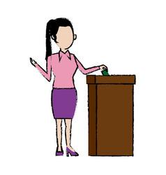 Woman putting a ballot into a voting box vector
