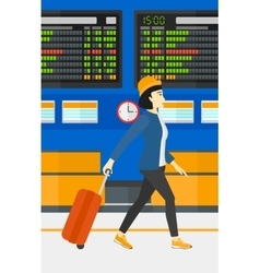 Woman walking with suitcase vector