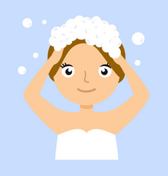 young woman washing her head with shampoo vector image vector image