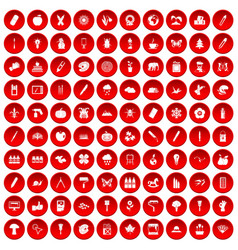 100 eco design icons set red vector