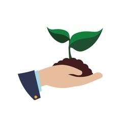 Leaf hand plant green nature ecology icon vector