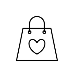 Heart shopping bag love romantic icon vector