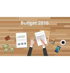 Budget 2016 with hand business man vector