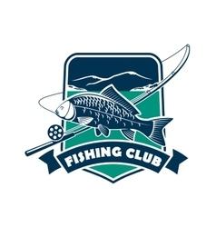 Fishing club emblem for fisherman sport vector image