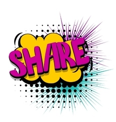 Comic text speech bubble share web link vector